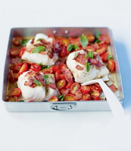 Bacalao con tomate natural